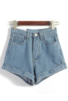 High Waist Loose Denim Blue Shorts