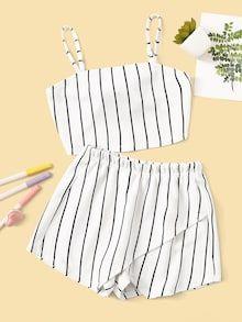Conjunto de niñas top con encaje de cuello fruncido con falda fruncido de color metálico | SHEIN ES