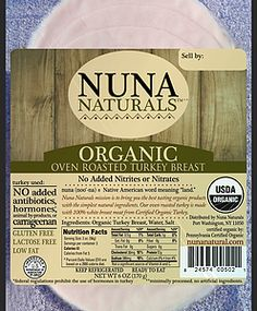 Nuna Naturals Oven Roasted Turkey Breast - Nuna Naturals mission is to bring you the best tasting 100% organic products with the simplest natural ingredients. At the heart of our core values is a commitment to caring for the whole scope of the food chain which encompasses the wholesomeness of our products, the human treatment of animals, and sustainable practices that are optimal for the land and our environment. #paleo #certifiedpaleo