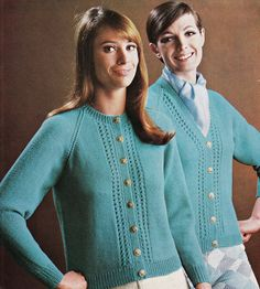 Vintage Knitting Pattern Instructions for Two Cardigans DK Sizes 34 -40  Bust