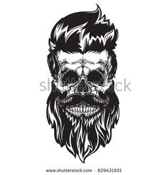 Black vector illustration of skull with beard, mustache, hipster haircut. Isolated on white background - achetez cette image vectorielle sur Shutterstock et trouvez d'autres images. Head Tattoos, Skull Tattoos, Tatoos, Tattoo Ink, Hipster Haircut, Hipster Hairstyles, Hipster Beard, Undercut Hairstyles, Bart Tattoo