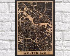 WOOD PRINT Wood map art, Rustic wood print, Amsterdam city map panel effect art print on wood, Home decor Rustic map of Amsterdam art print by Woodprintz on Etsy