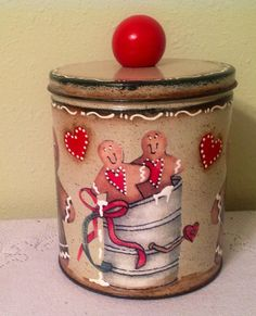 Gingerbread Metal Storage Canister. Ginger by CraftsByJoyice,