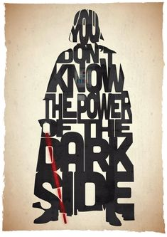 Affiche typographique citation de film Star Wars dark vador