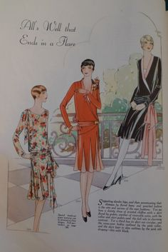 All's Well That Ends in Flare, Woman's Journal, 1927 30s Fashion, Art Deco Fashion, Fashion Prints, Fashion Photo, Retro Fashion, Vintage Fashion, 20s Outfits, Cool Outfits, Vintage Outfits