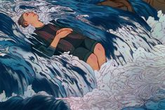 When I meditate, I usually picture myself laying in a stream where the water ends up being carried out into the ocean nearby. Whenever a thought/picture/memory pops up, it somehow materializes and flows into the ocean. This is DEFINITELY a fan art of. Art Inspo, Inspiration Art, Arte Peculiar, Bel Art, Art Et Illustration, Art Illustrations, Character Illustration, Pretty Art, Art Design