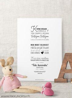 Julisteet ja kortit - Ainutlaatuinen - Pikkunorsu Kids Songs, Emo, Place Cards, Lyrics, Place Card Holders, Poster, Weights, Nursery Songs, Emo Style