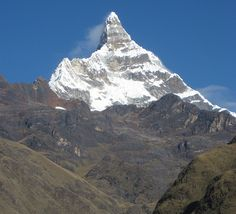 Peru,Cordillera Blanca  This pointy peak, Artesonraju Piramide (6025m) is spectacular, viewed on the Santa Cruz trek.