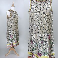 "1960s Mod Sequin Shift Dress Stained Glass Florence Lustig 38"" B 36"" W M L"