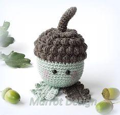 Mira lo que encontré en Freubelweb.nl: un patrón de ganchillo gratis de Marrôt De . Crochet Fruit, Crochet Fall, Crochet Home, Diy Crochet, Crochet Flowers, Amigurumi Patterns, Knitting Patterns, Crochet Embellishments, Amigurumi