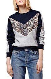 Topshop Leopard Print Colorblock Sweatshirt