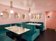 Inside North Audley Cantine Luxury Restaurant in London Design Retro, Cafe Design, Vintage Design, Luxury Restaurant, Cafe Restaurant, Restaurant Design, Restaurant Interiors, Commercial Design, Commercial Interiors