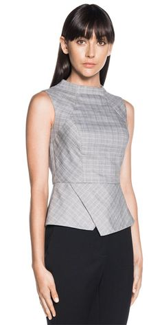 Tops  | Check Asymmetric Peplum Top