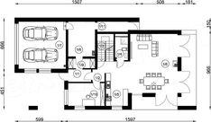 Rzut parteru projektu FX-24 Model House Plan, House Plans, Modern Barn House, Good House, Scandinavian Modern, Floor Plans, 1, Exterior, House Design