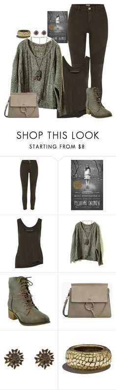 """Current Read: Miss Peregrine's home for peculiar children"" by fashion-nova ❤ liked on Polyvore featuring River Island, Enza Costa, Cathy Waterman and Versace"