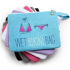 Wet Bikini Bag that can be personalized.  So much better than a grocery bag when packing up at the pool/lake/beach.