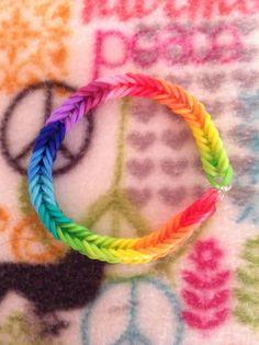Rainbow fishtail rubber band bracelet rainbow loom