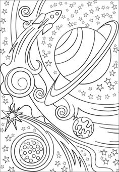 Trippy Space - Rocket and Planets Coloring page