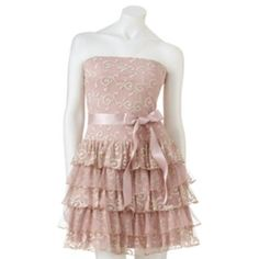 Lily Rose Tiered Embroidered Tube Dress - Juniors