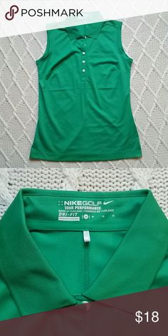 Nike Women's Golf Top New without tags! Green collared nike women's golf tank top. Dri-Fit, 100% polyester Nike Tops Tank Tops