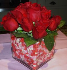 Candy lined floral vase.