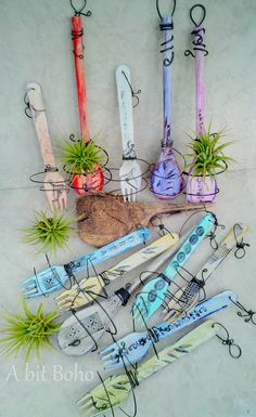 Tillandsia 'Tilly' plant holders are hand painted and wire wrapped re-purposed wooden spoons and forks - A bit Boho
