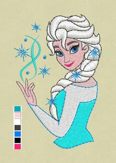 Elsa Frozen embroidery design pes jef hus vp3 files Brother