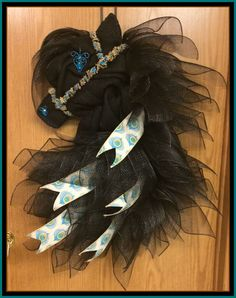 Black Friesian Horse Head Wreath by A Noble Touch by ANobleTouch on Etsy