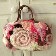 Freeform Crochet Purse Pink Brown Cream by WildHeartYarnings, $34.00