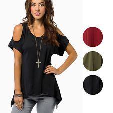 Sexy Women V-Neck Off-Shoulder Tops Blouse T-Shirts Asymmetric Hem Casual Tee