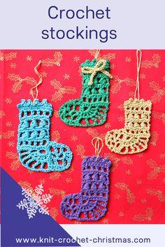 Mini Christmas Stocking Decoration Crochet Tutorial And Chart Christmas Stocking Decorations, Mini Christmas Stockings, Mini Stockings, Crochet Christmas Ornaments, Christmas Crochet Patterns, Holiday Crochet, Crochet Home, Free Crochet, Christmas Crafts