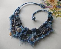 Jeans jeans... Recycled jeans necklace by AccessoriesLilit on Etsy