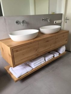 Solid oak bathroom furniture with push to open soft close drawers - Modern Bathroom - . - Solid oak bathroom furniture with push to open soft close drawers – Modern Bathroom – # bathroo -
