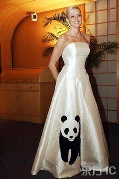 South African swimmer Charlene Wittstock in panda gown, by Isabell Christensen, at the WWF sponsered Panda Ball,Monaco, April 2008 In November of the same year this gown was auctioned at the Panda Ball in Singapore in aid of the WWF.