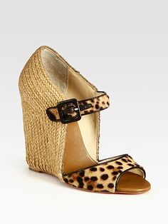 Christian Louboutin  Leopard-Print Pony Hair and Leather Wedge Sandals