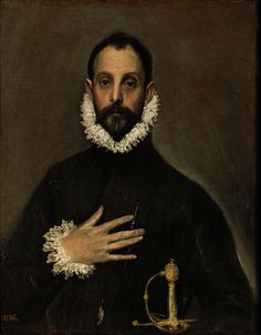 """Nobleman with his Hand on his Chest"" circa 1580-85 by El Greco (kingdom of Candia 1541-Toledo 1614). Oil on canvas . Mannerism. 81 cm × 66 cm. Museo del Prado. Painter, sculptor and architect of the Spanish Renaissance. El Greco has been characterized by modern scholars as an artist so individual that he belongs to no conventional school. He regarded color as the most important and the most ungovernable element of painting, and declared that color had primacy over form."