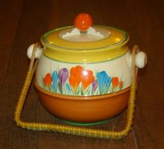 Clarice Cliff Crocus Bizarre Biscuit Barrel