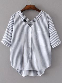 Shop Vertical Striped Double V Neckline High Low Blouse online. SheIn offers Vertical Striped Double V Neckline High Low Blouse & more to fit your fashionable needs. Clothes Refashion, Shirt Refashion, Diy Clothes, Umgestaltete Shirts, Shirt Blouses, Diy Fashion, Fashion Outfits, Vertical Stripes, Blouse Online