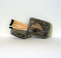 Antique Art Deco 1920's  Match Safe Tobacciana by EvettaHill, $65.00