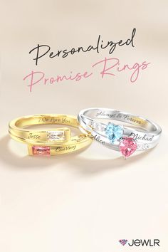 Create a one-of-a-kind personalized promise ring that celebrates love and commitment. Shop our stunning ring collection for unique and romantic Christmas gift for her, the perfect personalized gift for her, or even a treat for yourself. #Jewlr #PromiseRings #BirthstoneJewelry #PersonalizedJewelry #CouplesRing Personalized Promise Rings, Personalized Gifts For Her, Personalized Jewelry, Romantic Christmas Gifts, Christmas Gifts For Her, Make Her Smile, Promise Rings For Her, Everlasting Love, Birthstone Jewelry