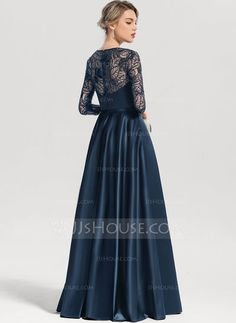 [ A-Line/Princess Scoop Neck Floor-Length Satin Evening Dress With Sequins Navy Prom Dresses, Hi Low Dresses, Nice Dresses, Evening Dresses, Bridesmaid Dresses, Formal Dresses, Wedding Dresses Men Indian, Wedding Dress Men, Dress Brokat