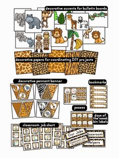 Clutter-Free Classroom: Jungle / Safari Themed Classroom {Ideas, Photos, Tips, and More} Classroom Job Chart, Classroom Jobs, Classroom Decor, Classroom Organization, Classroom Management, Behavior Management, Toddler Classroom, Preschool Classroom, Classroom Activities