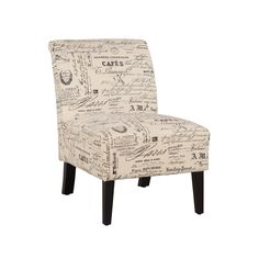 This linen script lily chair is definitely a stylish seating option for any room in your home. The unique pattern on the chair is sure to catch the eye of any guest in your home, and could be a real conversation starter at your next dinner party or event.