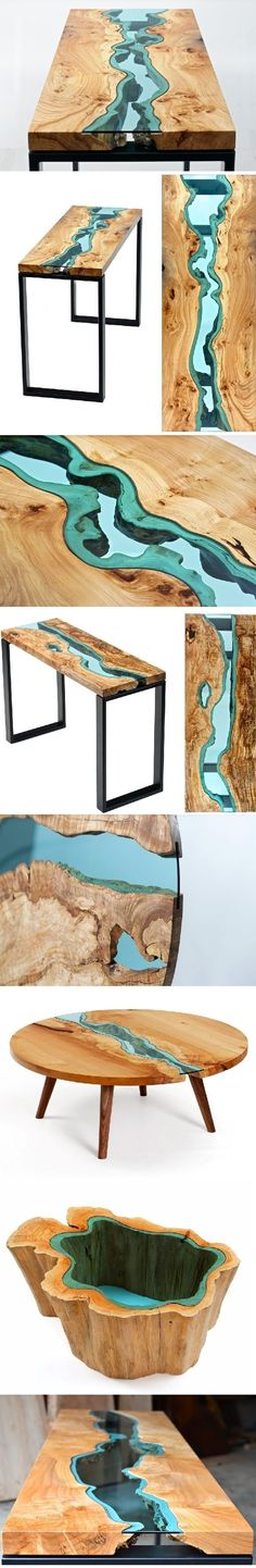 Wood Tables Embedded with Glass Rivers and Lakes