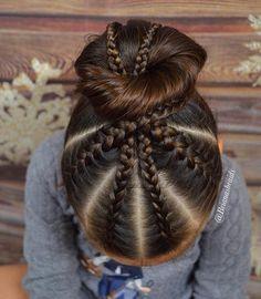 French and Dutch braids into a bun today for swim. It definitely looked prettier in my head Happy Wednesday #braidsforlittlegirls…