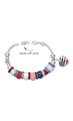 Jewelry Design. Pay homage to Old Glory by re-creating this red, white and blue bracelet with free instructions. It's an easy 4-step project that is completely customizable so you can change up the look for 4th of July or any other holiday. - Bracelet with Swarovski®️️ Crystals, Enamel and Silver-Plated ''Pewter'' Charm and Metal Beads - Fire Mountain Gems and Beads