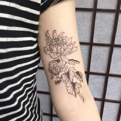 Outlined Chrysanthemum Tattoo. This outlined Chrysanthemum tattoo is worth trying one.
