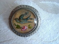 Vintage Reverse Painted Paperweight Goofus Glass Intaglio Bird Rose Pin Brooch