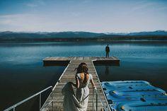 mountain lake wedding photo