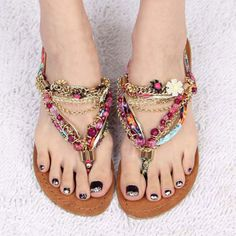 Beaded Rhinestones Metallic Flower Flip Flops Flat Thong Sandals  These are super cute, would love them on others.  I, personally, have never been able to stand wearing thong sandals, but thought I'd share, lol.